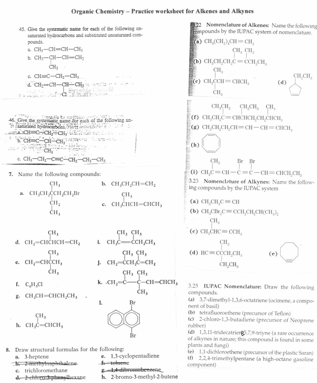 Naming Alkenes Worksheet Answers Alvinmatias2 39 S Blog